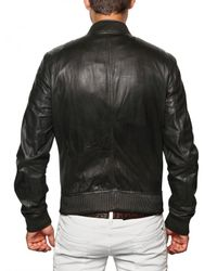 DSquared² - Black Multi Pocket Bomber Leather Jacket for Men - Lyst