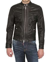 DSquared² | Black Multi-zip Biker Nappa Leather Jacket for Men | Lyst