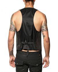 DSquared² - Black Studded Silk Cotton Vest for Men - Lyst