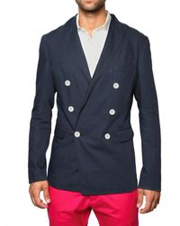 DSquared² | Blue Cotton Linen Double Breasted Jacket for Men | Lyst