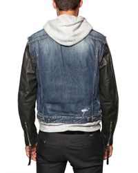 DSquared² | Blue Denim & Leather Eagle Print Sport Jacket for Men | Lyst