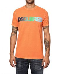 DSquared² | Orange Cotton Jersey Faded Logo T-shirt for Men | Lyst