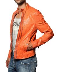 DSquared² - Orange Multi-zip Biker Nappa Leather Jacket for Men - Lyst