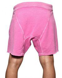 DSquared² | Pink Paint Spots Cotton Fleece Sweat Shorts for Men | Lyst