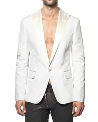 DSquared² - White Chic Cotton & Satin Beverly Hills Jacket for Men - Lyst