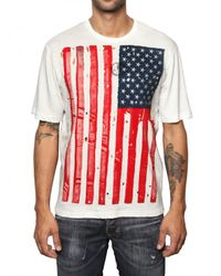 DSquared² | White Usa Flag Print Tshirt for Men | Lyst