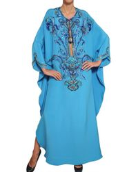 Emilio Pucci - Blue Embroidered Silk Cady Kaftan Dress - Lyst