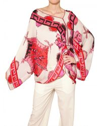 Emilio Pucci | Multicolor Printed Matt Silk Satin Kaftan Top | Lyst