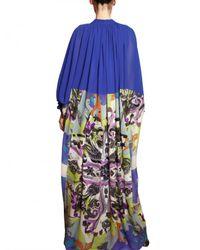 Etro - Blue Printed Silk Georgette Long Dress - Lyst