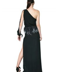 Francesco Scognamiglio - Black Feather Belt Silk Chiffon Long Dress - Lyst
