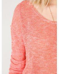 Free People - Pink Long Sleeve Metallic Swit Tee - Lyst