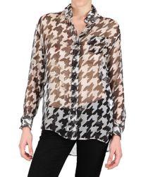 John Galliano | Black Houndstooth Print Chiffon Shirt | Lyst