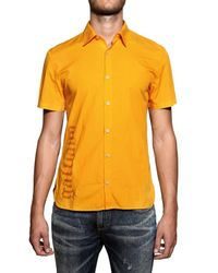 John Galliano - Orange Logo Print Coton Poplin Shirt for Men - Lyst