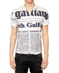 John Galliano - White Gazette Jersey T-shirt for Men - Lyst
