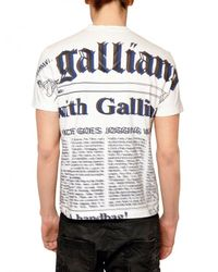 John Galliano | White Gazette Jersey T-shirt for Men | Lyst