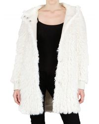 John Galliano | White Hooded Faux Fur Coat | Lyst