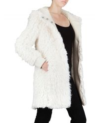 John Galliano - White Hooded Faux Fur Coat - Lyst