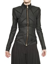 Gareth Pugh | Black Pvc Insert On Viscose Jersey Jacket | Lyst