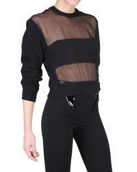 Givenchy | Black Front Silk Chiffon Fleece Sweatshirt | Lyst