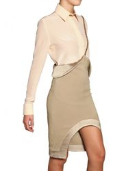 Givenchy | Natural Silk Satin Trim Stretch Viscose Skirt | Lyst
