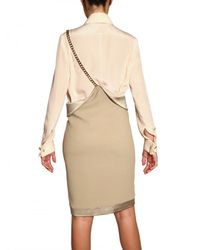 Givenchy | Natural Silk Satin Trim Stretch Viscose Skirt | Lyst