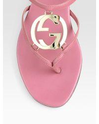 Gucci | Pink Thong Flat Sandals | Lyst