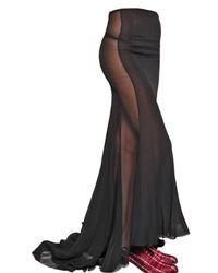 Haider Ackermann - Black Silk Chiffon Long Skirt - Lyst