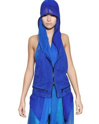 Haider Ackermann | Blue Suede On Silk Chiffon Vest | Lyst