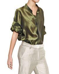 Haider Ackermann - Green Oversize Light Silk Shantung Shirt - Lyst