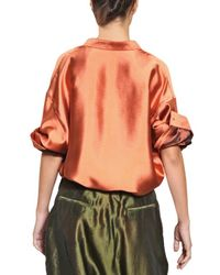 Haider Ackermann | Orange Oversize Silk Shantung Shirt | Lyst