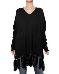 Hotel Particulier - Black Mink Tail Hem Wool Cashmere Knit Sweater - Lyst