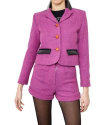 House of Holland | Purple Harris Wool Tweed Jacket | Lyst