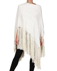 James Long | White Fringed Cable Wool Poncho Sweater | Lyst