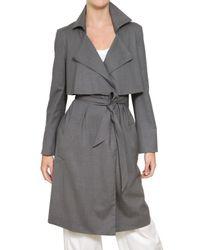 Jil Sander   Gray Stretch Cool Wool Trench Coat   Lyst