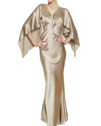 John Galliano | Natural Batwing Sleeved Silk Satin Dress | Lyst