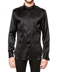 John Galliano | Black Stretch Silk Satin Pleated Shirt for Men | Lyst