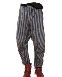 John Galliano | Blue Striped Linen Canvas Trousers for Men | Lyst