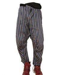 John Galliano - Blue Striped Linen Canvas Trousers for Men - Lyst