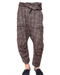 John Galliano | Purple Crinkled Checked Wool Trousers for Men | Lyst