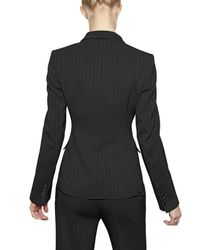 John Richmond - Black Pin Striped Merino Wool Flannel Jacket - Lyst