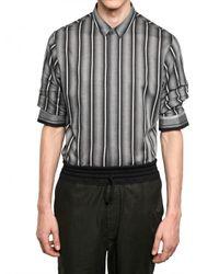 Kris Van Assche - Gray Gathered Sleeve Baptiste Cotton Shirt for Men - Lyst