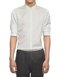 Kris Van Assche - White Gathered Sleeves Cotton Poplin Shirt for Men - Lyst