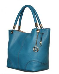 Lancel - Blue French Flair Grained Leather Tote - Lyst