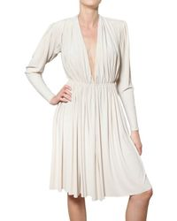 Lanvin | White Pleated Techno Jersey Empire Cut Dress | Lyst