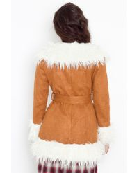 Nasty Gal - Natural Bridget Shearling Coat - Lyst