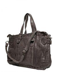 Officine Creative | Gray Washed Leather Shoulder Bag for Men | Lyst
