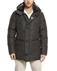 Peuterey | Gray Shearling Collar Waxed Wool Down Jacket for Men | Lyst