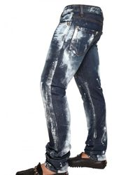 Philipp Plein - Blue 18cm Distressed Painted Denim Jeans for Men - Lyst
