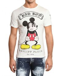 Philipp Plein | White Mickey Mouse Swarovski Jersey T-shirt for Men | Lyst