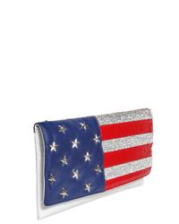 Philipp Plein - White Swarovski American Flag Leather Clutch - Lyst